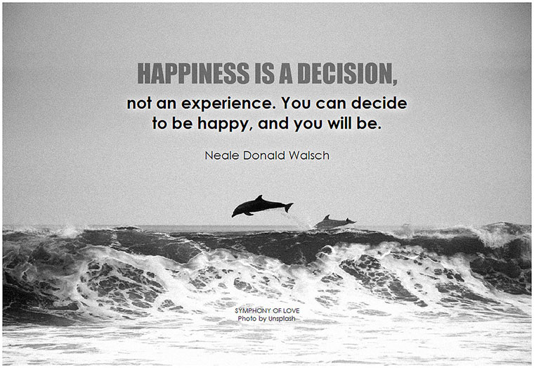 Neale Donald Walsch Happiness is a decision, not an experience... Photo by BK on flickr - http://makeavisionboard.com/being-happy/